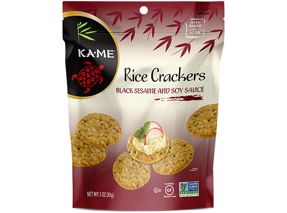 KAME Black Sesame and Soy Sauce Rice Crackers
