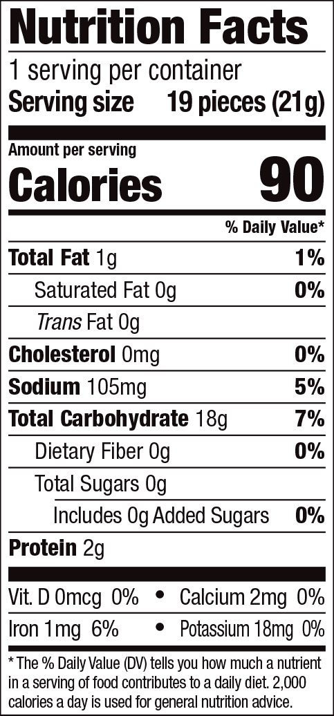 Mini Rice Crackers Nutrition Facts