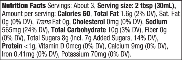 Chinese Stir-Fry Sauce Nutrition Facts