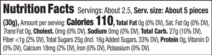 KA–ME Sliced Crystallized Ginger Nutritional Facts