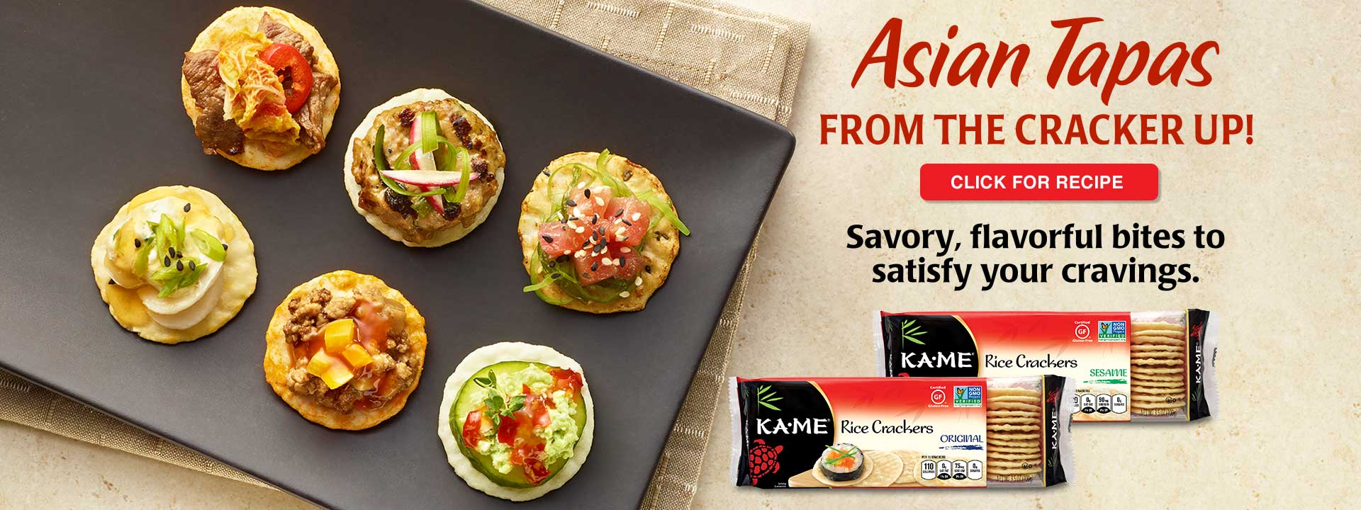 asian tapas kame rice crackers