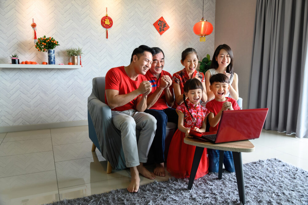 Family Celebrating Lunar New Year virtually during the global pandemic